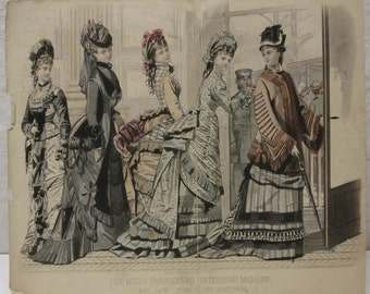 Victorian Fashion Art Print ~ Peterson's Magazine Fashion Plate ~ Great for framing! ~ May 1876