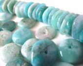 Amazonite Beads - Ocean Blue Stone Freeform Rondelle Beads - 4x13mm - Raw Amazonite - Gemstone Rondelles with Holes - Eco Beading - Supplies