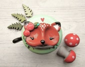 Reserved Listing for I.Peters ----- Bicycle Bell - Fox Elliot - 55mm - glossy varnish - polymer clay - handsculpted