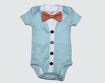 Baby Cardigan and Bow Tie Set - Trendy Baby Boy - Blue - Cardigan Onesie