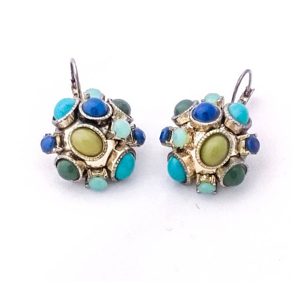 Vintage turquoise lapis and jade lucite cabochon cluster silver pierced dangle earrings