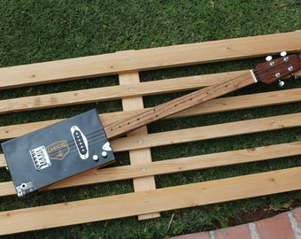 Cigar Box Guitar Camacho 4 String Electric Mag Pickup Tone and Volume Fretted