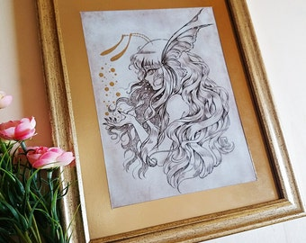 PRINT- Fairy Dust - Ink drawing - Special Edition FRAMED PRINT