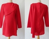 Red Wool Crepe Anthea Crawford Dress - 1980s