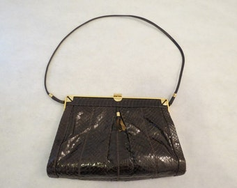 Brown Snakeskin Handbag - 1950s