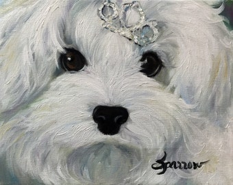PRINT Maltipoo maltese puppy dog face princess portrait art by Mary Sparrow of Hanging the Moon Art Studio