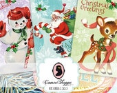 75% OFF SALE RETRO Christmas Digital Collage Sheet set of 8 Digital Tags Digital Collage Instant Download