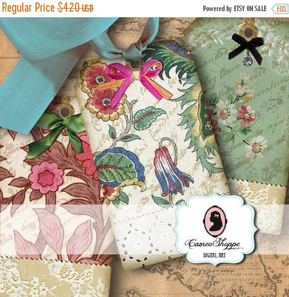 75% OFF SALE Digital Collage VINTAGE Fabrics Digital Collage Sheet Digital Tags and Square Cards Instant Download