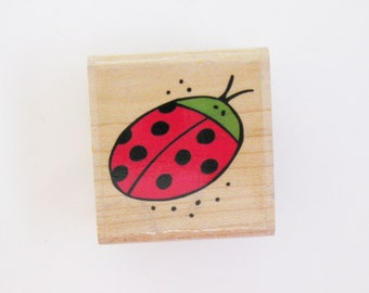 Lady Bug Papercraft Rubber Stamp Carved Wood Mount Destash Spring Supply Scrapbooking Collage Stamping Supply Stampabilities Planner Supply