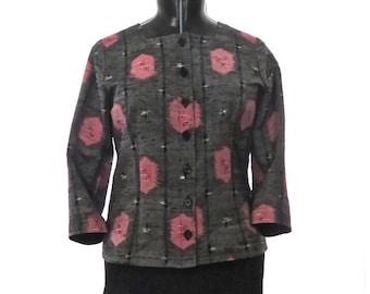 Women's silk jacket, Silk top, Recycled Kimono, Linen clothing, Silk and Linen, Japanese fabric, Kimono fabric, Handmade, Kasuri, Ikat