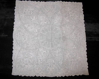 Madeira Embroidered Handkerchief, Vintage Madeira Embroidery Hankies Hanky