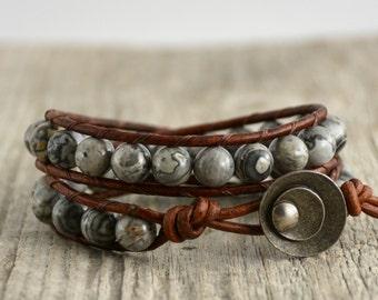 Grey brown beaded double wrap bracelet. Bohemian chic jewelry