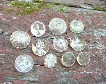 11 Assorted Vintage Clear Glass Buttons, Cut Glass Buttons, Pressed Glass Buttons, Charmstring Buttons