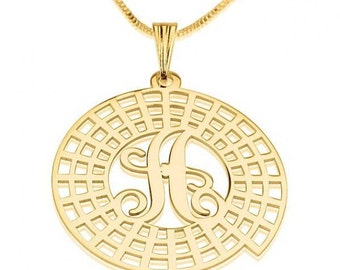 24K Gold Plated Initial Crop Circle Initial Necklace with chain