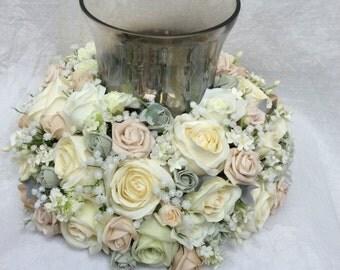 Artificial Silk Silver Creams Mocha Ivory Wedding Hurrican Vase Centrepiece Arrangement