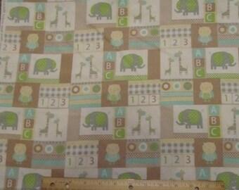 Brown/White/Green Blocked Elephant/Giraffee/Owl Flannel Fabric by the Yard