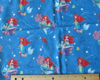 Blue Seaside Little Mermaid Cotton Fabric by the Yard