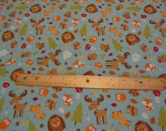 Blue Riley Blake  Multicolor Forest/Woodland Animas/Moose/Bear/Fox/Deerl Cotton Fabric by the Yard