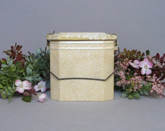 Pretty Vintage French Enameled Lunch Pail, yellow and white mottled pattern