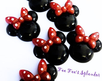 2 pc set- Pretty Minnie Mouse inspired Mouse Flatback resin- Mouse cabochon- w/ RED bow * Hair bow center *