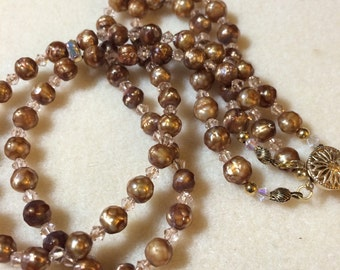 Faceted Pearl Choker Antique Gold Cultured Freshwater Pearls With Swarovski Beads And Gold Findings