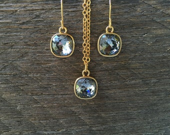 SALE Cushion Black Set Necklace Earring Swarovski Crystal Shadow Square Pendant on Silver or Gold Chain and French Hook