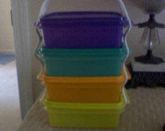 Tupperware square containers, new with lids, and handle, set of 4