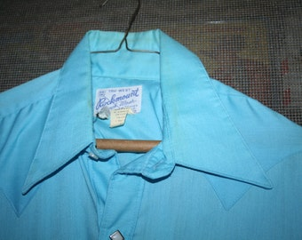 Be a Cowboy!  1960s Tru-West ROCKMOUNT Ranch Wear Custom-Fitted Turquoise Shirt! White Ivory/Silver Diamond Snaps!