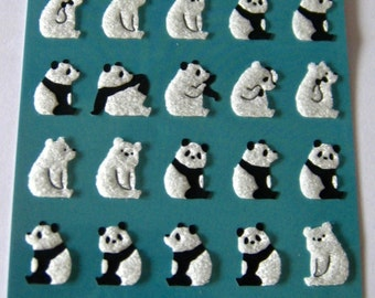 "New Stickers by Mind Wave ""Quit Panda "" Printed Felt Textured Paper."