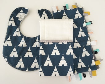 Baby Gift Set...Burp Cloth/Bib/Ribbon Lovey...Modern Navy Tee Pees...Embroidery Option...No Loops