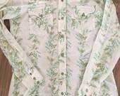 Rare mems vintage very thin H bar C butterfly pearl snap western shirt