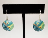 Serenity, round earrings, abstract, metal, lightweight, fun, original, greens, art jewelry