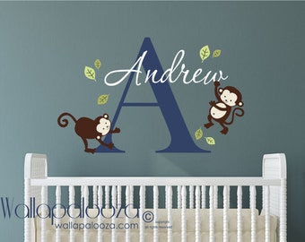 Monkey Wall Decal - Boys Name Wall Decal - Childrens Wall Decals - Personalized Name Vinyl Wall Decal - Monkey Decal