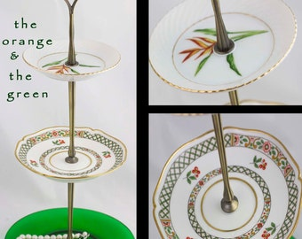 Tiered Server, 3 Tier Serving Jewelry Stand Dessert Tray Green Glass Plate, Jewelry Display Three Tier Tray Hostess Gifts Under 35