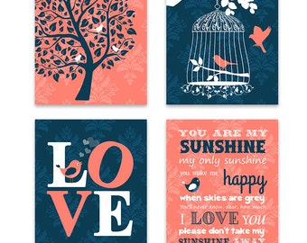 Baby Girl Nursery Art Wall Decor Girl Room Wall Art , You are My Sunshine, Love, Tree, Bird, Set of 4 Prints, Playroom Art,Navy and Coral