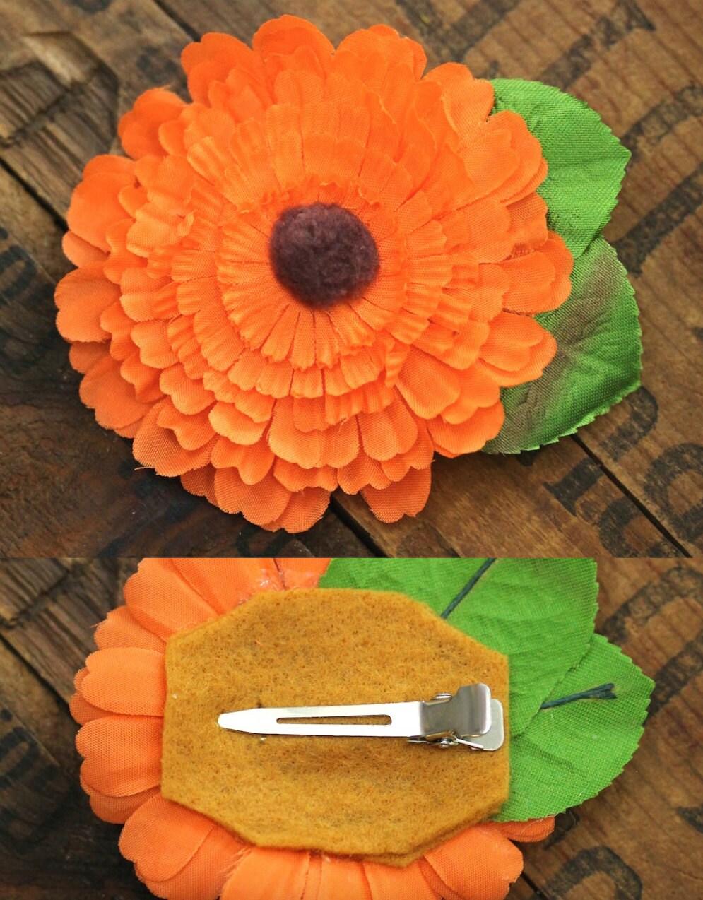 Orange HaarAccessoire Herbst Blume Herbst Fascinator 1950er
