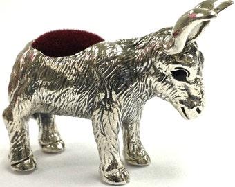 925 sterling silver Novelty detailed Donkey pin cushion natural sapphire eyes  hallamarked