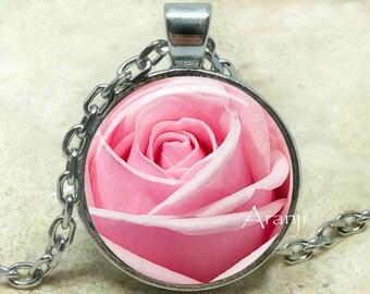 Pink rose pendant etsy pink rose necklace pink rose pendant light pink rose pink rose jewelry audiocablefo light ideas