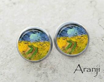 Van Gogh Wheatfield with Crows earrings, Wheatfield with Crows earrings, Van Gogh stud earrings, Van Gogh earrings, fine art earrings AR106E