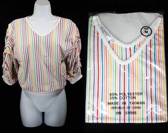 Vintage 70~80's Deadstock Multi Color Stripe Top Unique Sleeve Design Ribbed Waist & Cuffs Size S,M,L