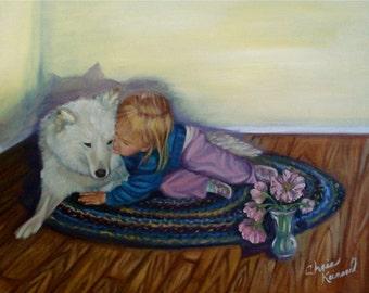 """Sarah and Her Dog: A 4""""x 6"""" Print"""