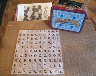 Scrabble Game Tiles-Scrabble lunch box-Scrabble Tiles-Complete Scrabble Letter Set-100 Scrabble Tiles-Collectible Scrabble Lunch Box