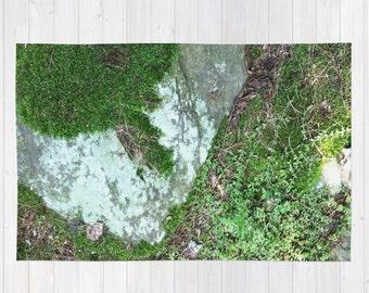 Natural Forest Floor Area Rug, woodland rug, forest rug, 4'x6' area rug, 2'x3' rug, natural rug, moss area rug, nature rug, rock rug