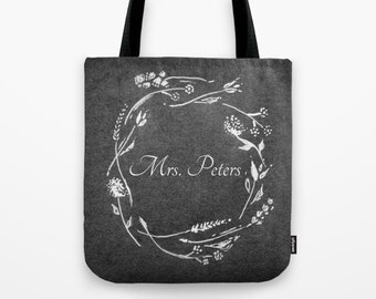 Personalized Teacher Tote Bag, floral teacher bag, custom tote bag, custom teacher bag, teacher name bag, teacher tote bag, personalized