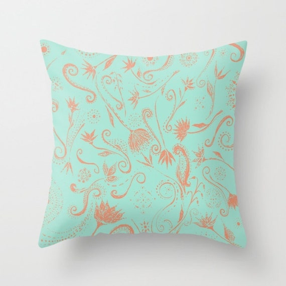 Items similar to Blue & Pink Floral Throw Pillow Cover, blue throw pillow, light blue pillow ...