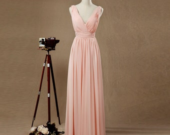 2016 Long Blush Bridesmaid dress, Blush Pink Wedding dress, Party dress, Womens Formal Evening dress, Prom dress floor length