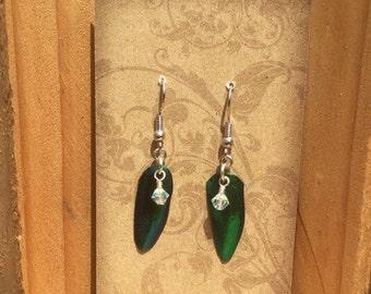 Beetle wing earrings with swarovski crystal