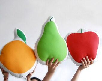 Three fruit pillows, soft sofa cushion set, kitchen pillows, colorful deco, home decorative pillows, fruit pillow set, fruits, nutrition fun