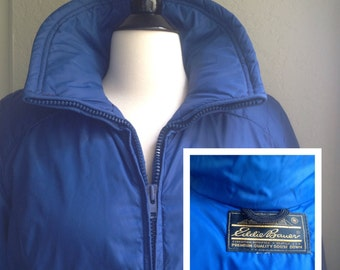 Eddie Bauer goose down jacket, Women's winter coat / Double Zipper front, pockets / Retro 1970's Blue puffy jacket / Made in the USA