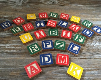 29 Vintage Alphabet Wooden Block Magnets, Wood Blocks